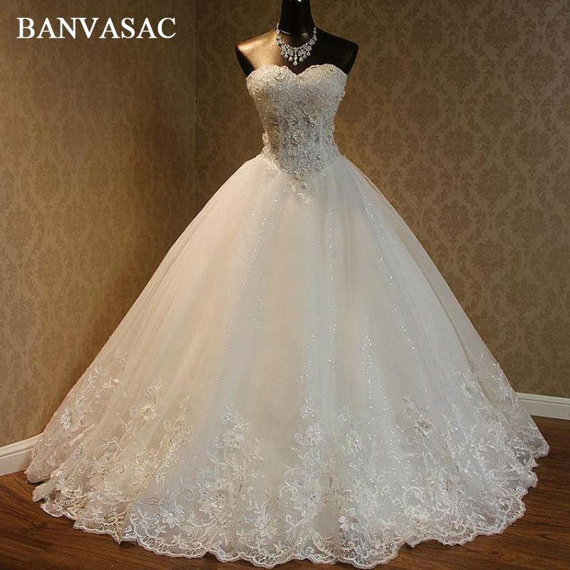 BANVASAC 2017 Nuevo Bordado Elegante Flores Sin Tirantes Vestidos de - Vestidos de novia