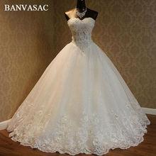 BANVASAC 2017 Bordir Elegant Baru Bunga Perkahwinan Tak bertali bahu Tanpa lengan Kristal Beadings Satin Lace Pengantin Ball Gowns