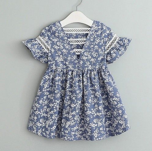 bbfc2efaee Grils Dress Navy Floral Baby Girls Casual Back Hallow Out Fashion Dress  Children Clothes Puff Sleeve Kids Dress With Lace -in Dresses from Mother    Kids on ...
