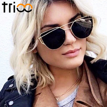 TRIOO 2017 Rose Gold Sunglasses Women Cat Eye Oculos Luxury Designer Twin-Beams Flat Lens Sun Glasses UV400 Protection Shades