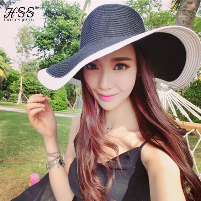 Fashion Fashion Hat Cap Women's Ladies' Foldable Wide Large Brim Floppy Summer Beach Sun Straw Hat Cap Wholesale and Retail