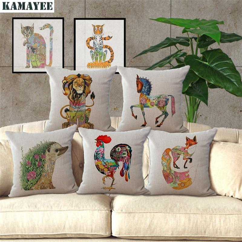 Fashion Throw Pillow Cushion Cover Home Decor Sofa Bed Cute Animal Printed Linen Square Cushion Cojines Almohadas