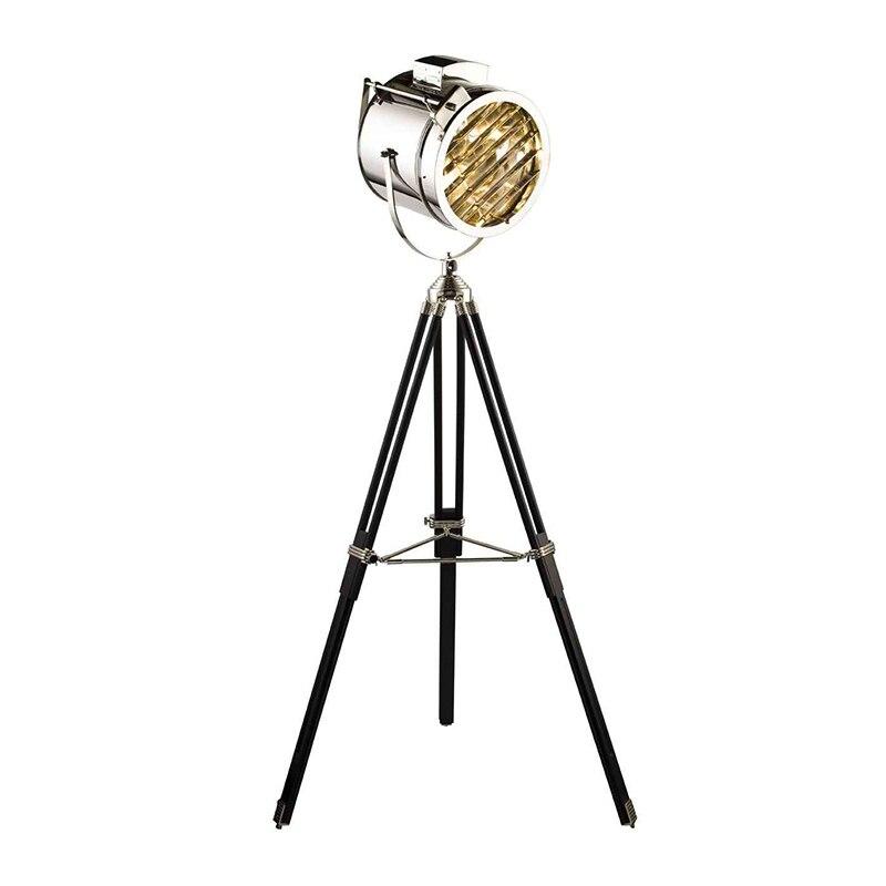 Industriale Studio Retro Argento Dorato Metallo Legno Lampada Da Terra Treppiede Searchlight