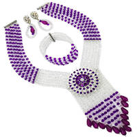 Purple Transparent Bib Necklace Crystal Beaded Multi Layers Nigerian Wedding African Beads Jewelry Set 6C SDLS