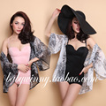 FREE SHIPPING 2016 Summer New Fashin All Match White Black Three Quarter Flare Sleeve Chiffon Cardigan Women Clothing 806