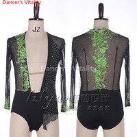 Male Latin Dance Shirts Deep V Neck Collar Ballroom Black Dance Tops Sexy Men Latino Gauze Clothing For Latin Dance Clothes
