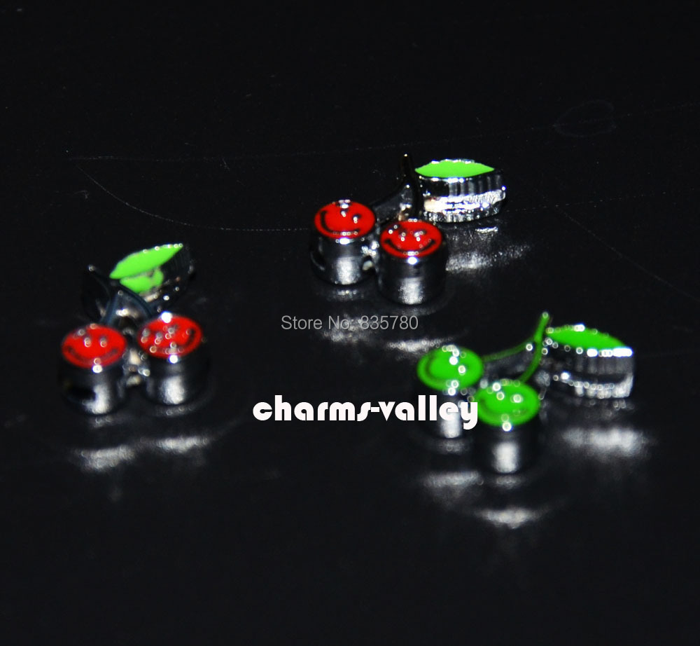 50PCS 8MM Enamel Smile Face Cherry Slide Charms Letter DIY Accessoriy Fit 8mm Wristband Belts Pet Dog Collars Phone Strips