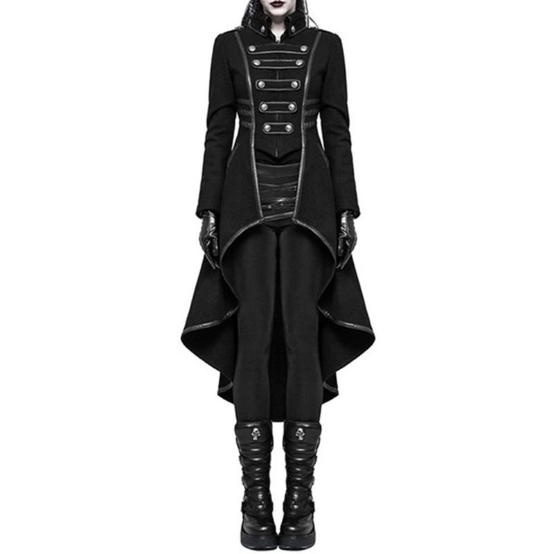 2019 Winter Casual Gothic Plus Size Party Warm Women Long Trench Coats Black Slim Plain Pleated Autumn Female Goth Overcoats in Trench from Women 39 s Clothing