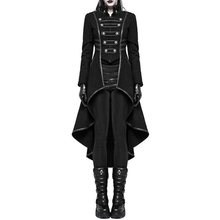 2019 Winter Casual Gothic Plus Size Party Warm Women Long Trench Coats Black Slim Plain Pleated Autumn Female Goth Overcoats