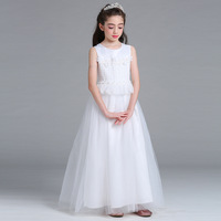 Elegant White Wedding Long Princess Dress For Girls 2017 New Flower Lace Evening Chritmas Party Long