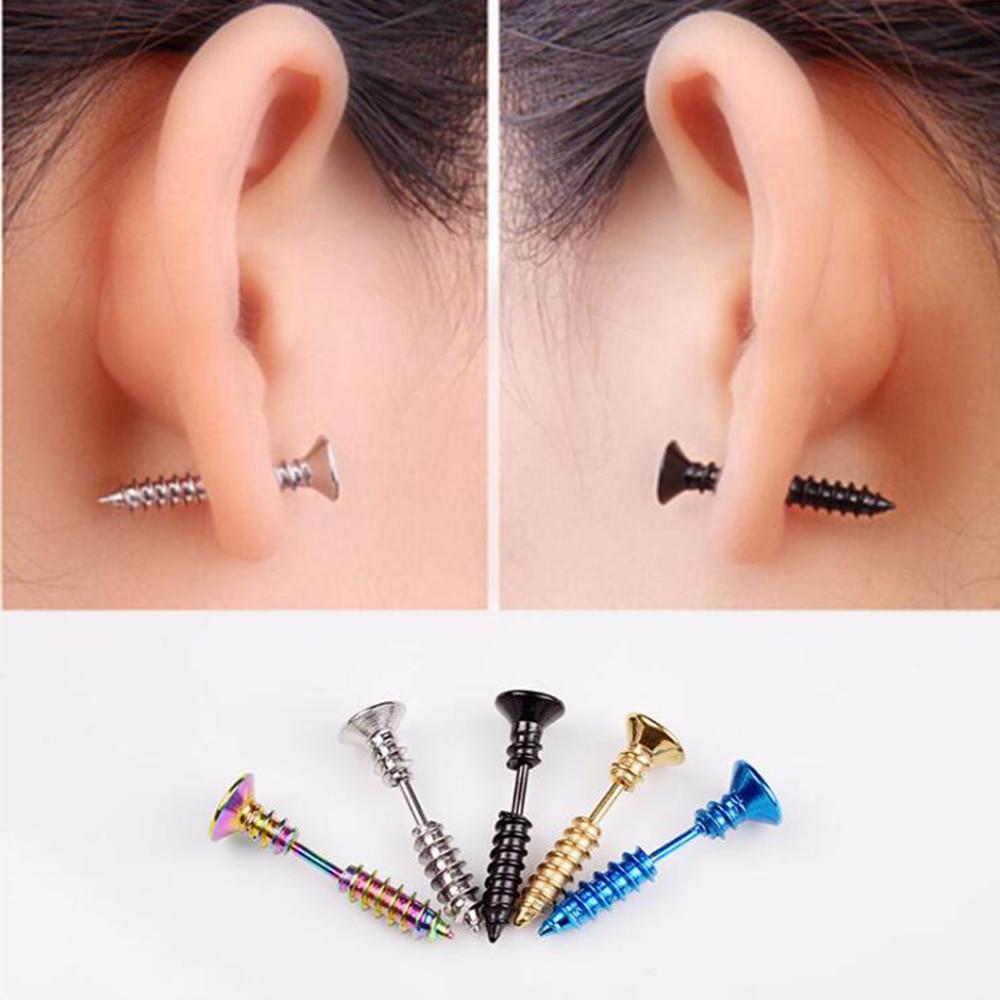 1Pair Steampunk  Screw Stud Earrings Fashion Design Stainless Steel Body Piercing Ear Stud for Men Women Anti Allergic FEAL E127 Пирсинг ушей