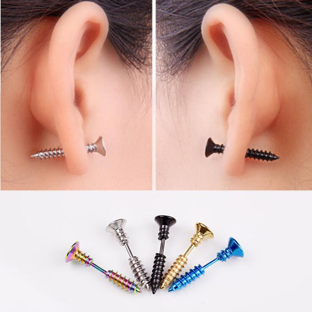 1 pair Piercing Fashion Women Men Stainless Steel Screw Stud Earrings Punk Anti Allergic Earrings Top Quality boucle d'oreille