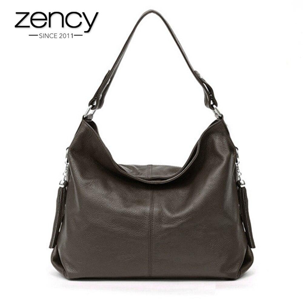 Zency 2018 Famous Designer Brand Women Shoulder Bag 100% Genuine Leather Fashion Female Messenger Handbag Tassels bolsas mujer famous brand bag 100