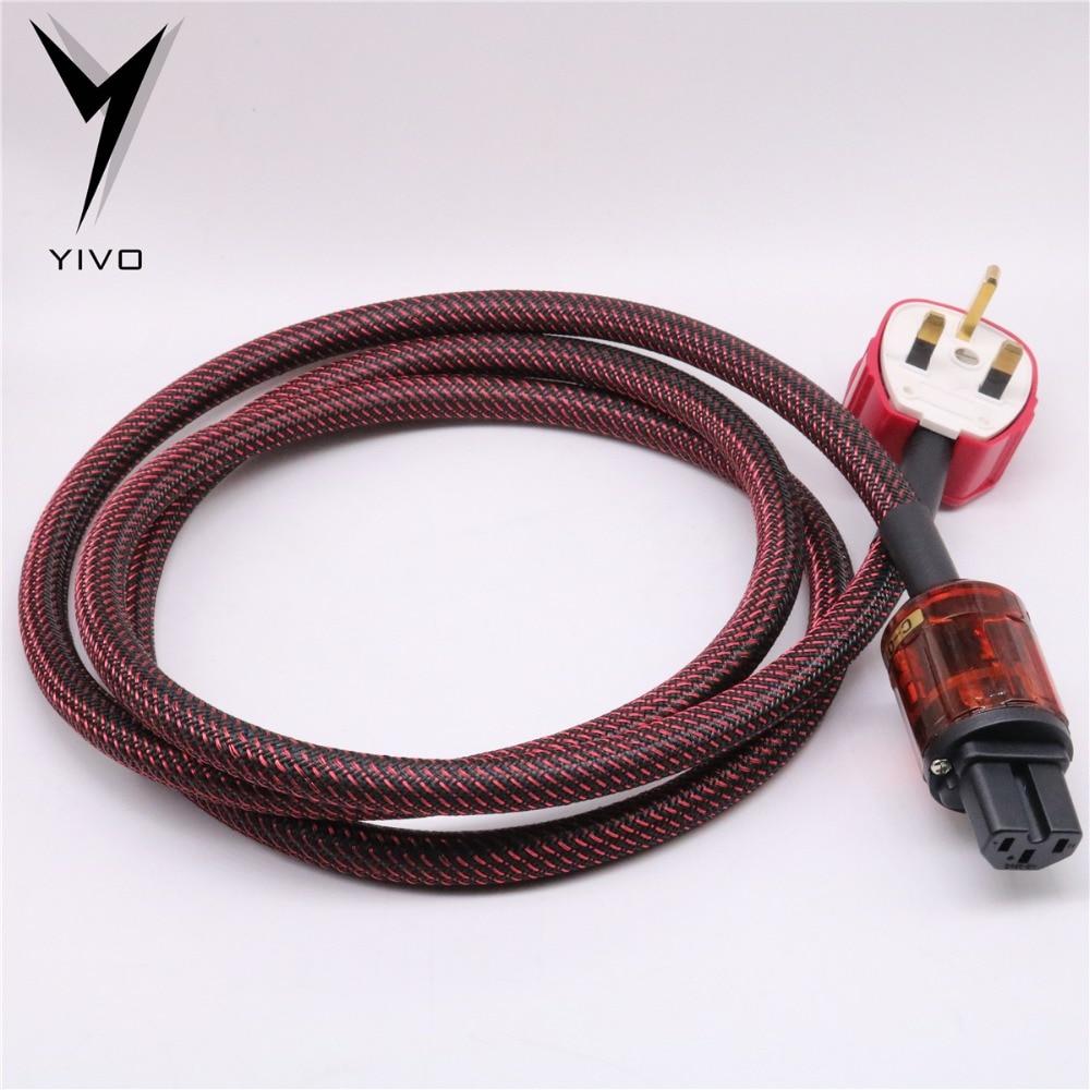 Hi end HIFI Guangzhou YIVO 3 core Pure Copper IEC Female plug Male AC UK Shield