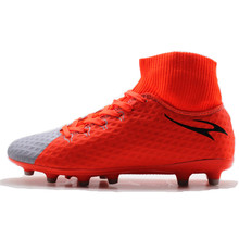 MAULTBY Men's Black Orange High Ankle AG Sole Outdoor Cleats Football Boots Shoes Soccer Cleats #SS3018O(China)