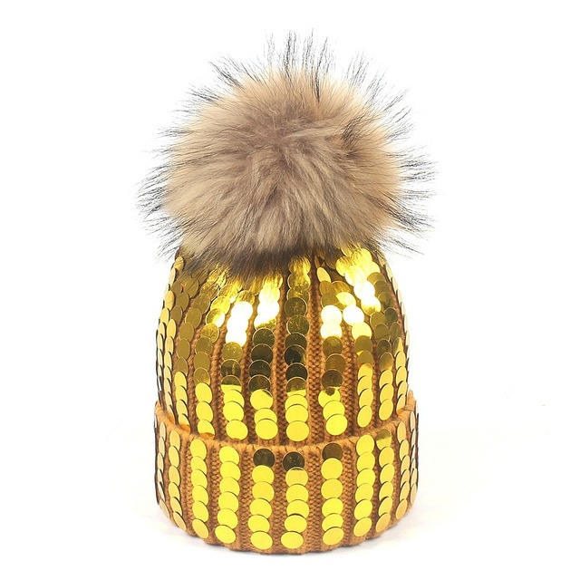 New Beanies Women Real Natural Fur Pom Poms Fashion Sequins Knitted Hat  Girls Female Beanie Cap fe57a03a5c1b