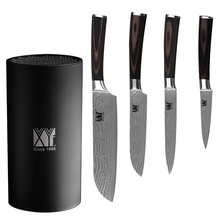 XYj Brand 7Cr17 Stainless Steel Knife 3.5 Inch 5 Inch 5 Inch 7 Inch Kitchen Knife Set + Black Acrylic Knife Holder 5 Piese Set