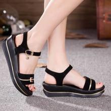 Fashion Echtes Leder Sandalen 2017 Neue Low Wedges Sommer Schuhe Gladiator Offene spitze Plattform Sandalen plus größe 35-43