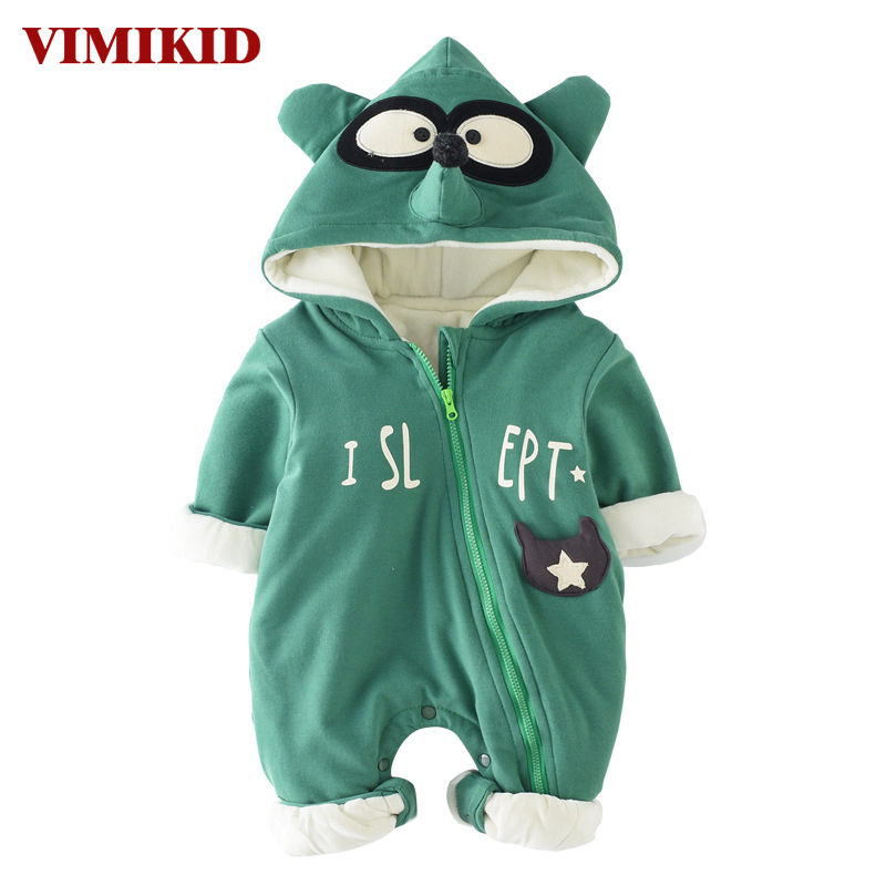 VIMIKID Newborn Baby Girls Boys Clothing Romper Autumn Long Sleeve Cotton Zipper Cartoon Image Letter Children's Clothes Romper puseky 2017 infant romper baby boys girls jumpsuit newborn bebe clothing hooded toddler baby clothes cute panda romper costumes