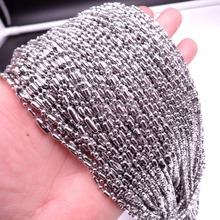 Granny Chic 50pcs/100pcs Men Womens Wholesale Top Quality Silver Stainless Steel Beads Ball Chain in Lots 16-36