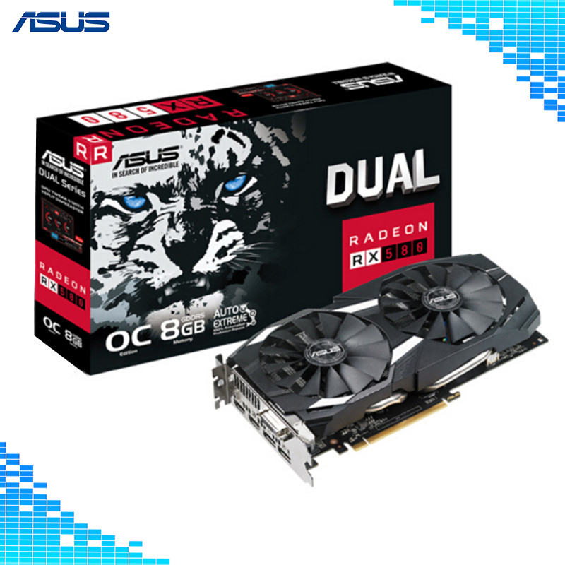 Asus DUAL-RX580-O8G Mainstream level Desktop Graphics Cards GDDR5 PCI Express 3.0 AMD Radeon RX 580 8G Graphics цена