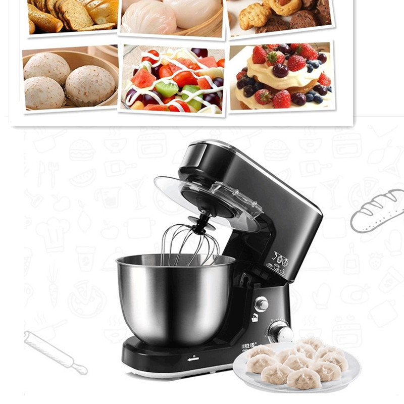 220V 5L Household Electric Dough Mixer Multifunctional Black Egg Milk Professional Beater For Bread Mixer Stand Type