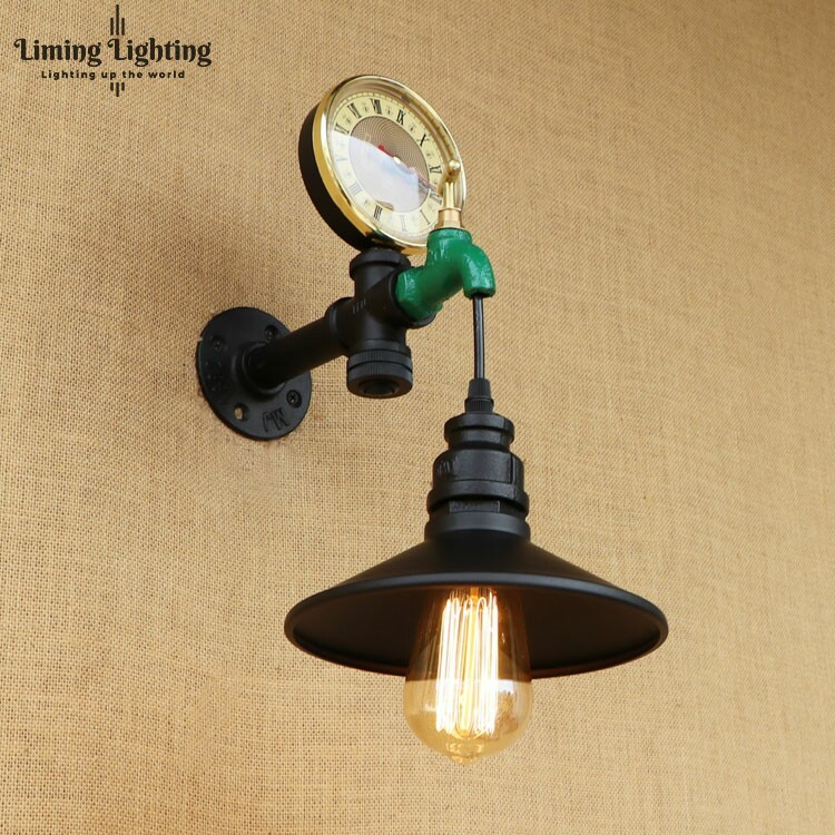 Loft Style Antique Water Pipe Lamp Switch Industrial Edison Wall Sconce horologe Vintage Wall Light Fixtures Home LightingLoft Style Antique Water Pipe Lamp Switch Industrial Edison Wall Sconce horologe Vintage Wall Light Fixtures Home Lighting