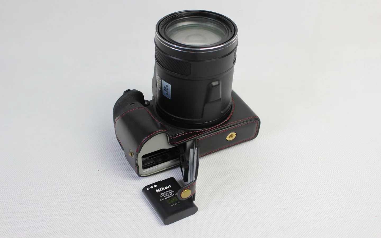P900s Caso Poliuretano Marrón para Nikon Coolpix P900