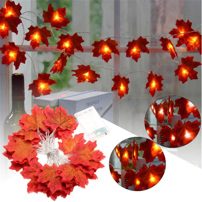 Smuxi 30 LED Maple Leaves Fairy Light Mixed Color Orange Yellow Leaf Autumn String Lights Fall Wedding Indoor Decoration