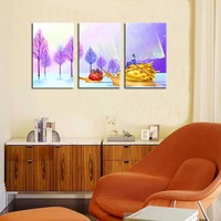 Modern HD print cartoon oil painting on canvas abstract purple tree scenery snails oil painting home decorations living room