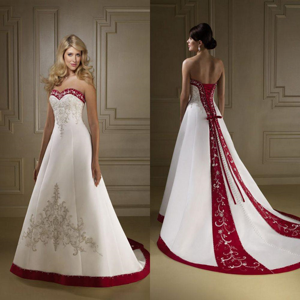 Popular Red and White Strapless Wedding Dresses-Buy Cheap Red and ...