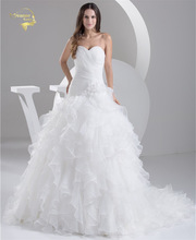 2016 Wit Louisvuigon Vestido De Noiva Robe De Mariage Bruidsjurken Een Lijn Organza Trouwjurken 2016 Sweetheart YN 9508