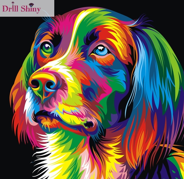 Colorful Dog 5D Diy Diamond Painting Full Square Pasted