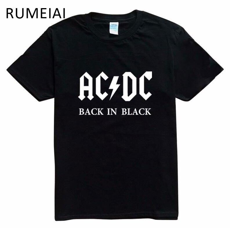 2017 New Camisetas AC/DC band rock T Shirt Mens acdc Graphic T-shirts Print Casual Tshirt O Neck Hip Hop Short Sleeve cotton Top