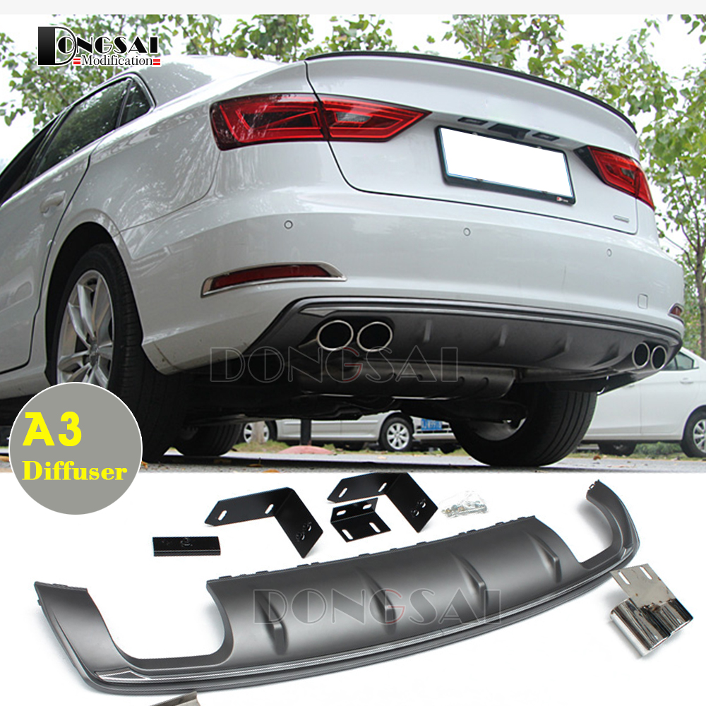 Audi 8V S3 Style PP Diffuser & Twin exhaust Tip Suit for Audi A3 8V Basic Edition 4 Door 2012 2016