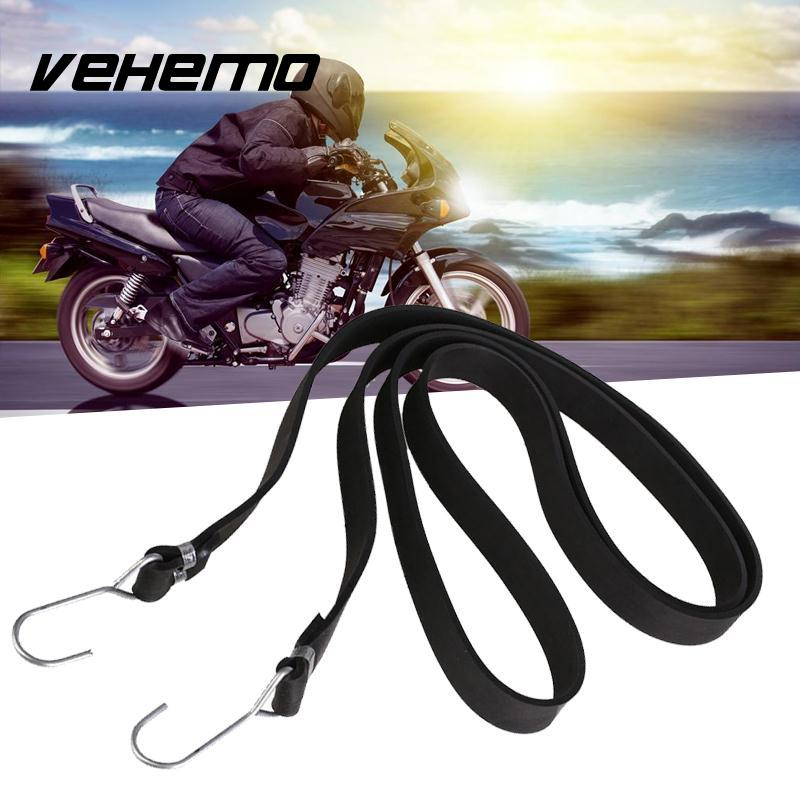 Vehemo 2m Heavy Duty Rubber Tarp Tie Down Straps Bungee Elastic Strong Hook Luggage Helmet Net Mesh For Bike Motorcycle Car