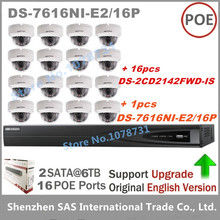 16 шт. Hikvision DS-2CD2142FWD-IS IP Камера 4MP купол Камера poe + Hikvision NVR DS-7616NI-E2/16 P 6MP Разрешение Запись