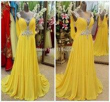 2016 Maß Neueste Sexy Lady Schöne New Fashion Design Elegante Gelbe Luxus Diamanten Bodenlangen Abendkleid