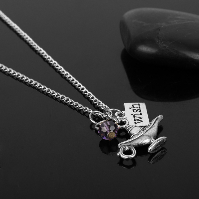 Aladdin Magic Lamp Pendant Necklace Aladdin Princess Jasmine A Whole New World Wish Logo Crystal Women DIY Jewelry -30