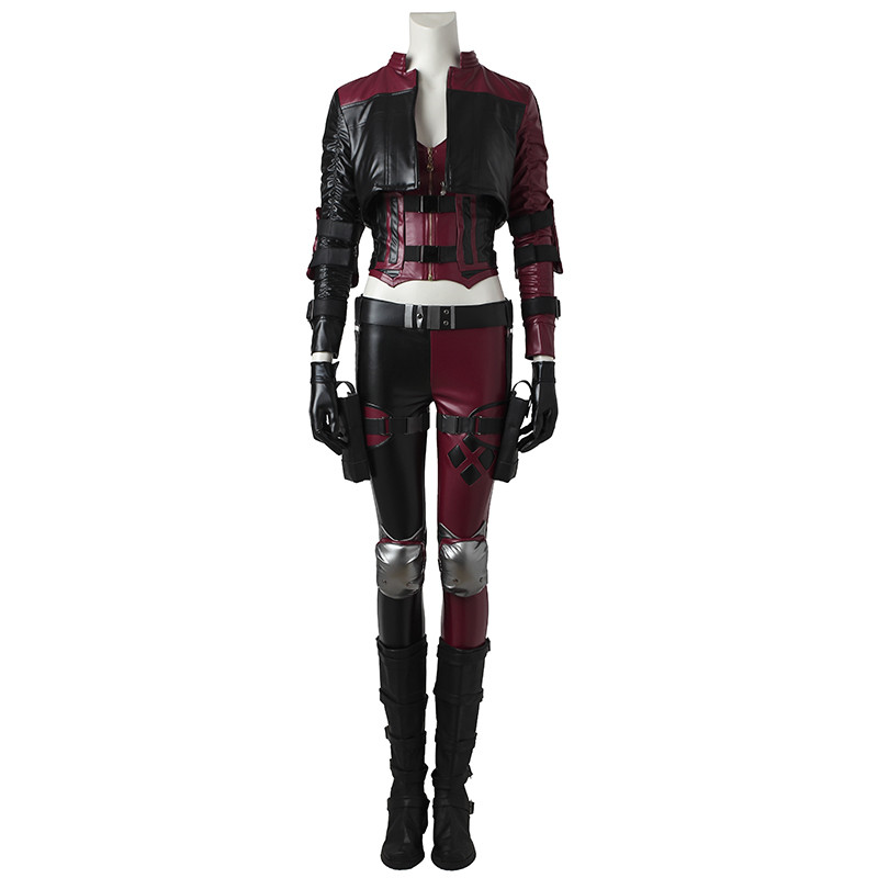Game Lnjustice 2 Harley Quinn Cosplay Costume Women Fight Suit PU Leather Clown Fancy Dress Adult Halloween Outfit Custom Made