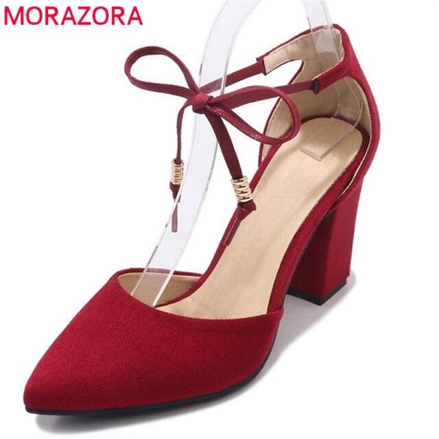 841b7f16e9 MORAZORA 2019 venda quente rebanho apontou bombas dedo do pé das mulheres  sapatos da moda verão sapatos lace up sapatos sexy sapatos de salto alto  sapatos