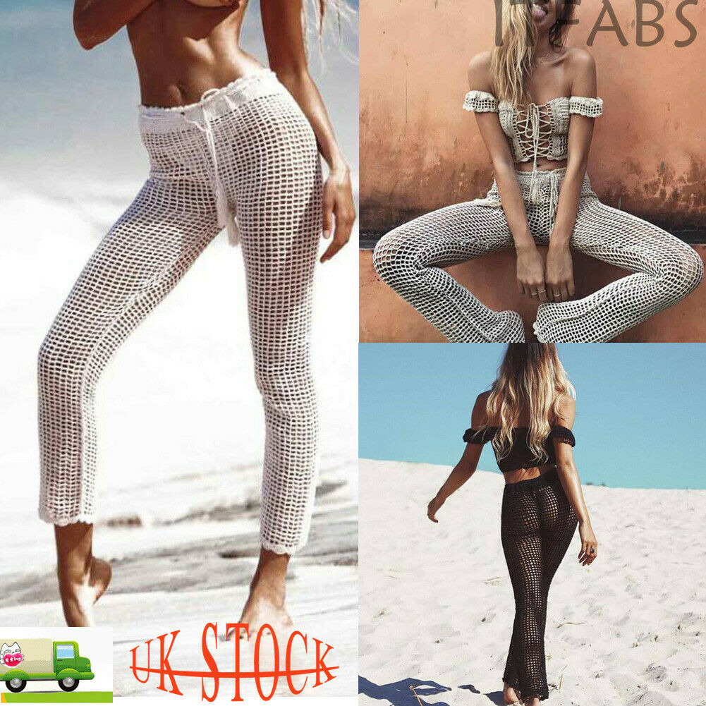 Hot Women Crochet Knitted Pants Solid Hollow Out Bandage Elastic Straight Casual Trouser Holiday Beach Wide Leg Bikini Cover Up