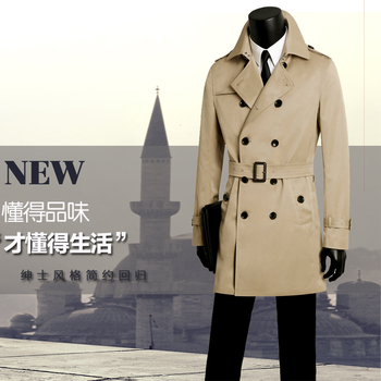 men's long trench coats men's double breasted clothing male trench coat spring and autumn plus size casual slim khaki fashion