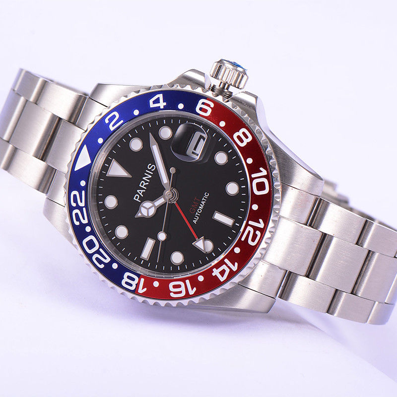 Parnis watch 40mm black dial GMT blue red bezel sapphire glass Automatic movement men's watch 381 relogio masculino