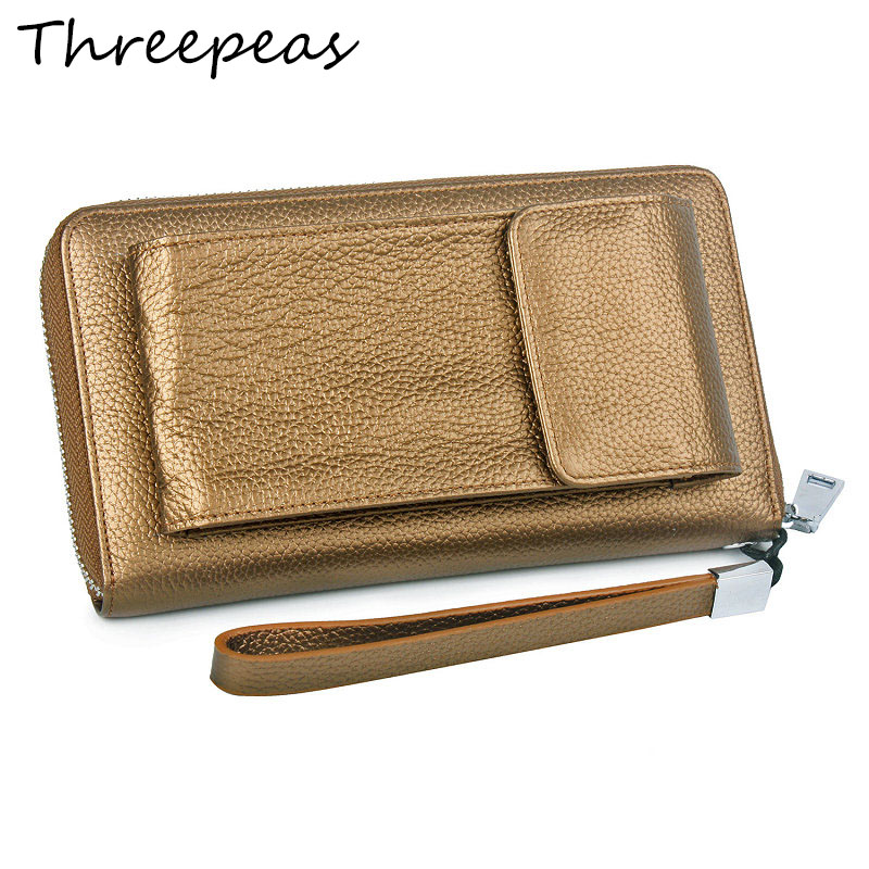 THREEPEAS Women Wallets Genuine Leather Luxury Large Organize Credit Card Money Clutch Bag Phone Wallet Female Zipper for Phone brand bag zipper multifunctional women s wallet short design genuine leather mobile phone bag female multi card vertical card