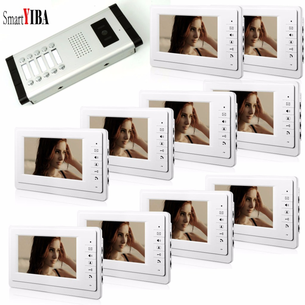 SmartYIBA 7 Inch Intercoms For The Apartment 3 To 12 Monitors Video Entryphone Video Phone IR Camera Video Eye Video Doorbell