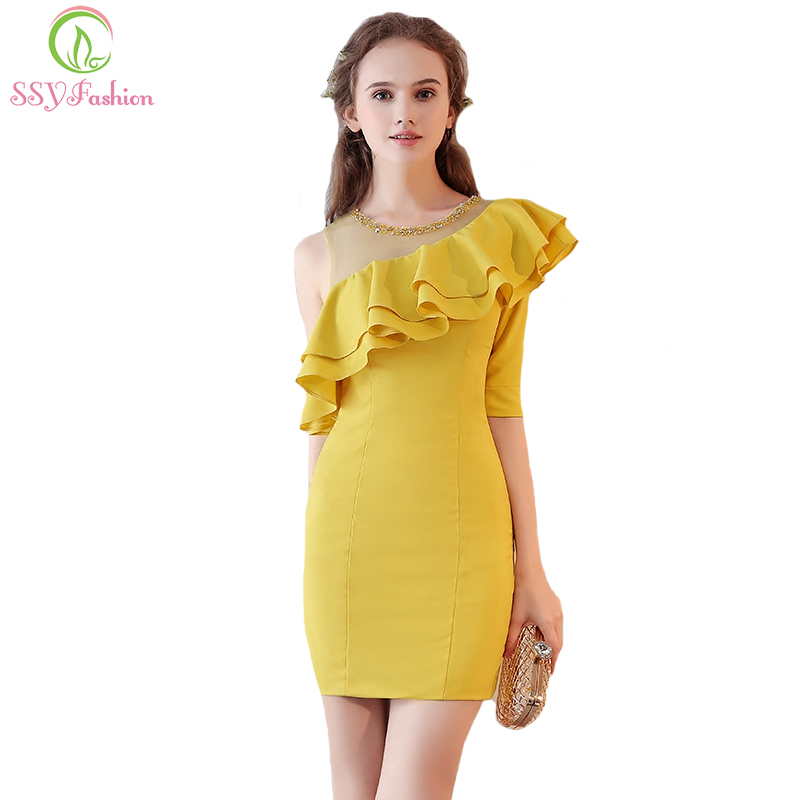 SSYFashion Summer New Yellow One Sleeves   Cocktail     Dress   Banquet Beading Scoop Neck Sexy Mini Formal Party Gown Robe De Soiree