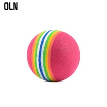 OLN 35mm Rainbow Cat Ball Toys for Pet Interactive Playing Chew Toy Rattle Scratch EVA Training