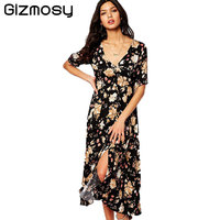 Gizmosy Sexy Floral Summer Dress Flare Sleeve Maxi Wedding Long Party Dress Women Bohemian V Neck