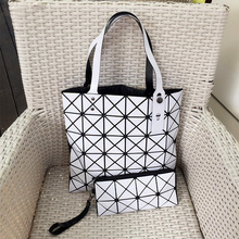 Fashion Laser Women Bag Women's Composite Bag Female Splicing Grid Diamond Leather Bags Women Chain Handbag Shoulder Bag
